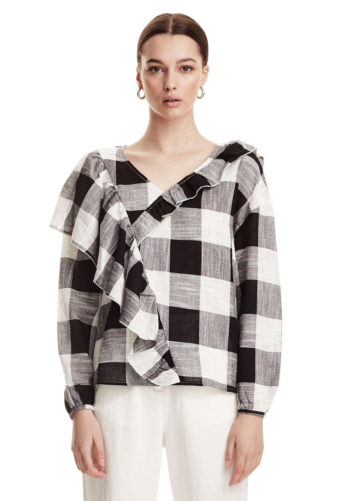 WOMENS FRILL SLEEVE LS TOP, BLACK/WHITE CHECK
