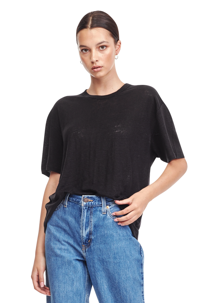 WOMENS OVERSIZED LINEN TEE, BLACK