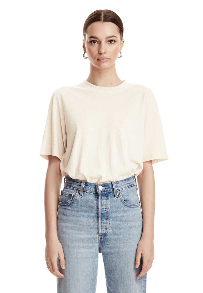 LUXE LINEN TEE, RICE WHITE