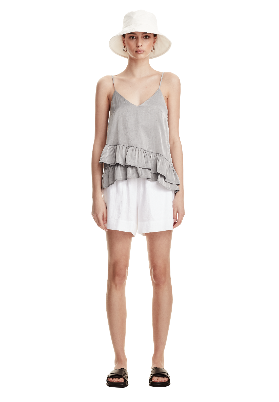 WOMENS FRILL CAMI, SILVER