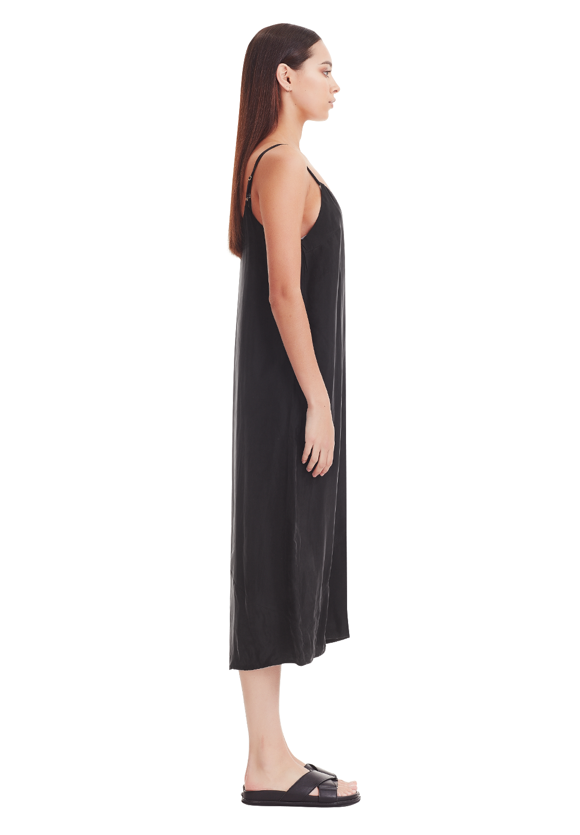 WOMEN'S PANEL SLIP DRESS, BLACK
