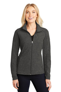 Port Authority® Ladies Heather Microfleece Full-Zip Jacket in Black Charcoal Heather    L235