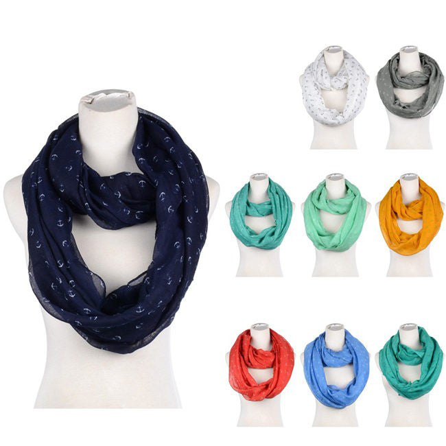 Wholesale Bulk Pack Assorted Color Women's Anchors Print Infinity Scarf-GDP3795