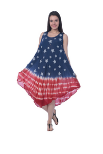 Wholesale Bulk Pack Rayon Tie Dye Americana Pattern Dress-GDP4602