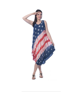 Wholesale Bulk Pack Rayon Tie Dye Americana Pattern Dress-GDP4594
