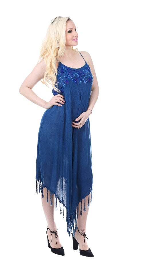 Wholesale Bulk Pack Rayon Denim Look Dress with Tassles-GDP4588
