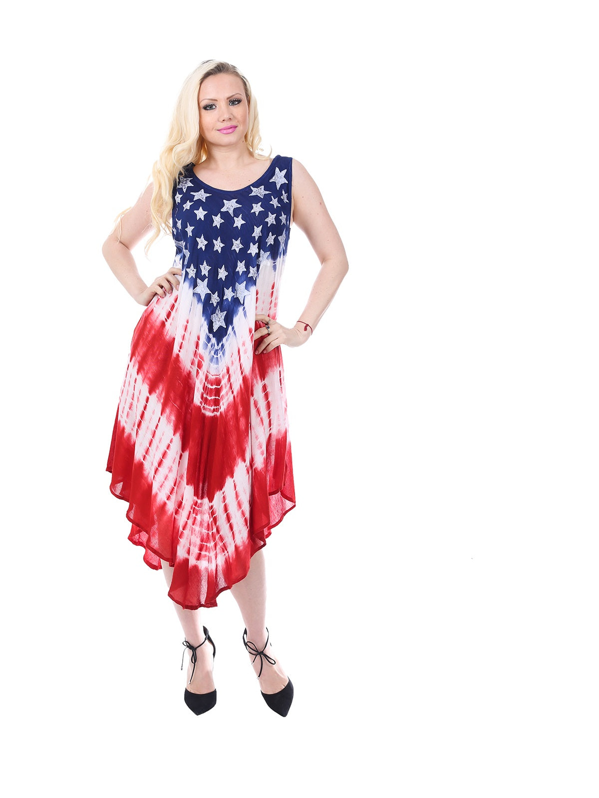 Wholesale Bulk Pack Rayon Tie Dye Americana Pattern Dress-GDP4582