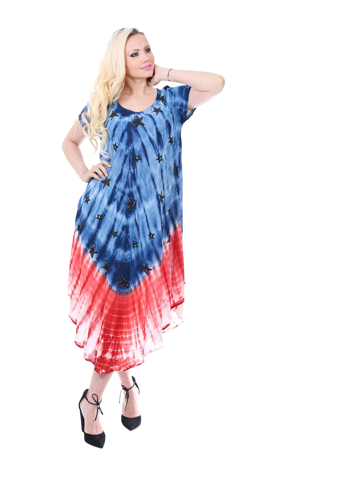 Wholesale Bulk Pack Rayon Tie Dye Americana Pattern Dress-GDP4580