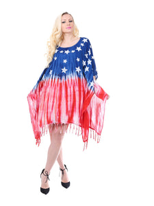 Wholesale Bulk Pack Rayon Tie Dye Americana Pattern Dress-GDP4576