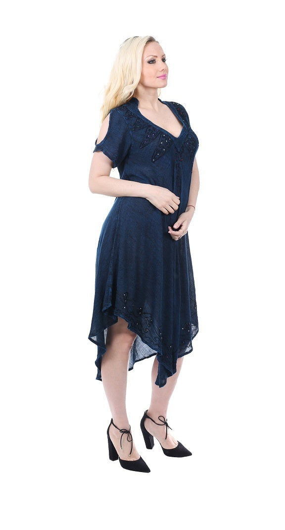 Wholesale Bulk Pack Rayon Acid Wash Dress with Collar-GDP4572