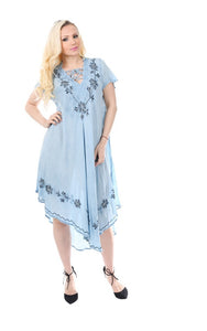 Wholesale Bulk Pack Rayon Dress with Collar-Enzyme Wash Denim-GDP4570