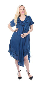 Wholesale Bulk Pack Rayon Dress Cold Shoulder with Collar-Enzyme Wash Denim-GDP4586