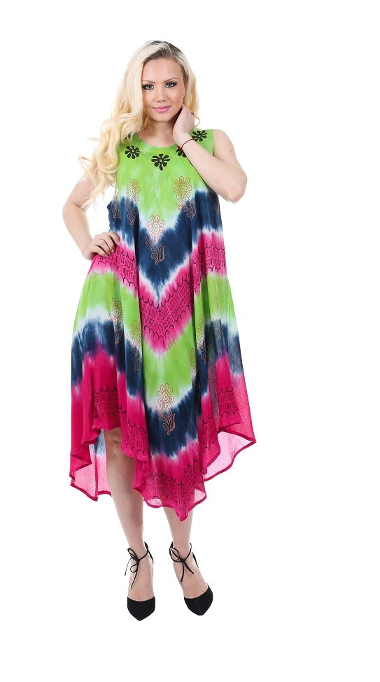Wholesale Bulk Pack Rayon Tie Dye Dress-GDP4544