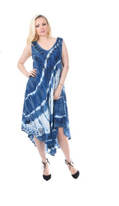 Wholesale Bulk Pack Rayon Dress-Enzyme Denim Wash with Tie Dye-GDP4518