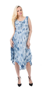 Wholesale Bulk Pack Rayon Dress-Enzyme Wash with Tie Dye-GDP4514