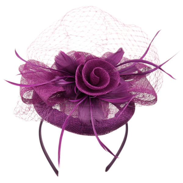 Wholesale Bulk Pack Sinamay Fascinator With Flower & Feather Trim-GDP1806