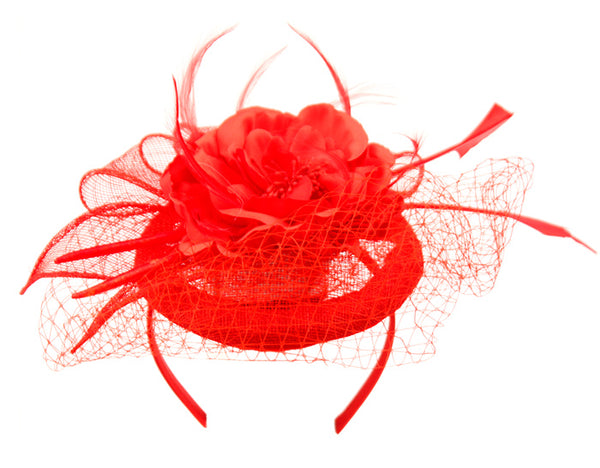 Wholesale Bulk Pack Sinamay Fascinator With Flower & Feather Trim-GDP1783