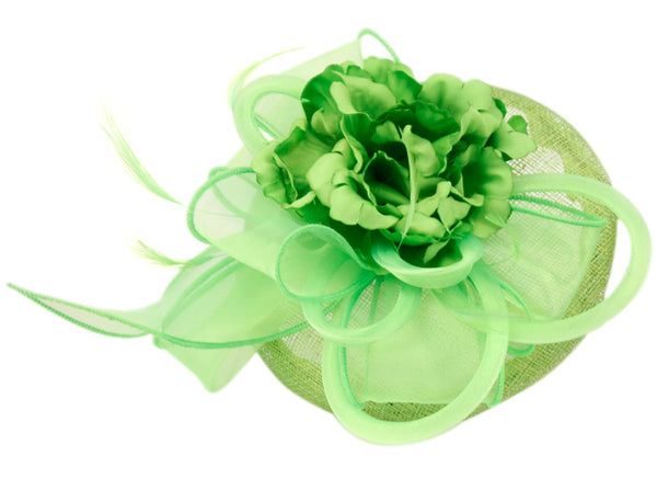 Wholesale Bulk Pack Sinamay Fascinator With Flower & Feather Trim-GDP1790