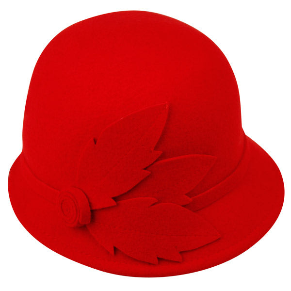 Wholesale Bulk Pack Ladies Wool Felt Cloche With Leaf & Band-GDP1183