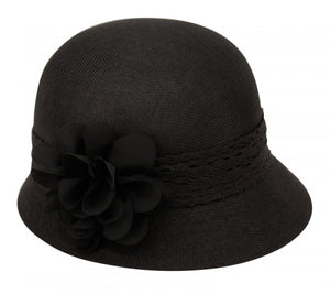 Wholesale Bulk Pack Linen Cloche Hats With Lace Band And Flower-GDP1276