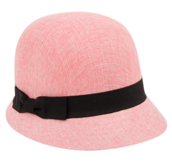 Wholesale Bulk Pack Linen/Cotton Cloche Hats With Black Band-GDP1239