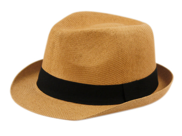 Wholesale Bulk Pack Roll Up Brim Straw Fedora Hats With Grosgrain Band-GDP3455