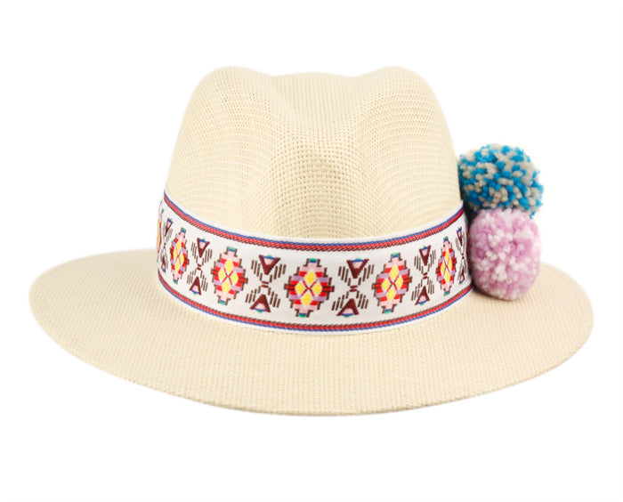 Wholesale Bulk Pack Ladies Panama Hat With Band & Flower Trim-GDP3386