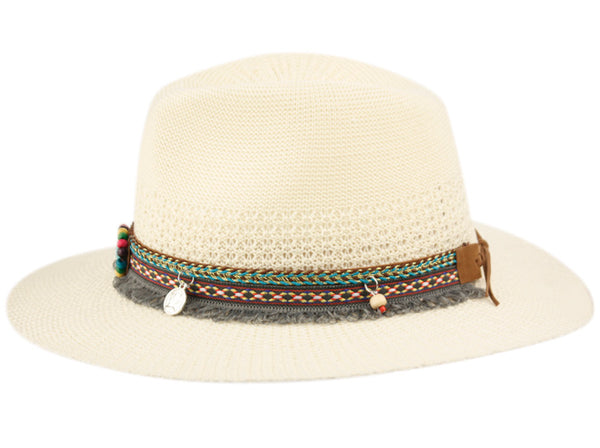 Wholesale Bulk Pack Ladies Poly Fedora With Trim Band-GDP3400