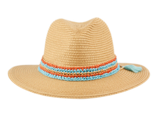 Wholesale Bulk Pack Paper Straw Braid Panama Hats With Two Tone Color Band-GDP3395