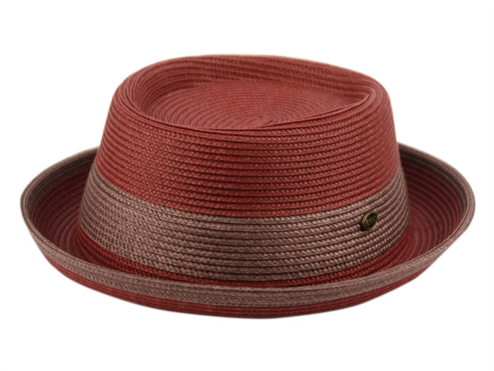 Wholesale Bulk Pack Poly Braid Pork Pie Hats With Color Band-GDP3486