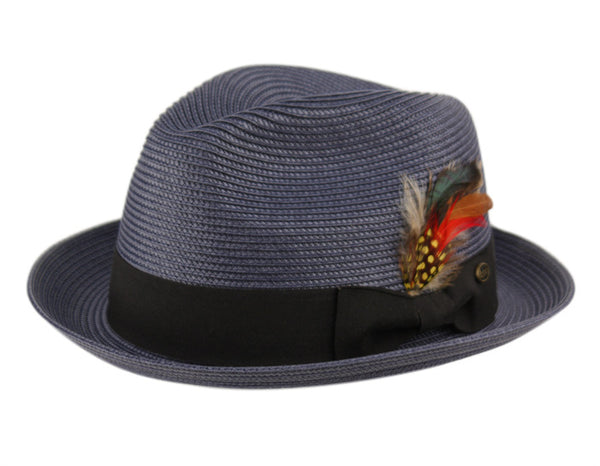 Wholesale Bulk Pack Poly Braid Fedora Hats With Band & Feather-GDP3469