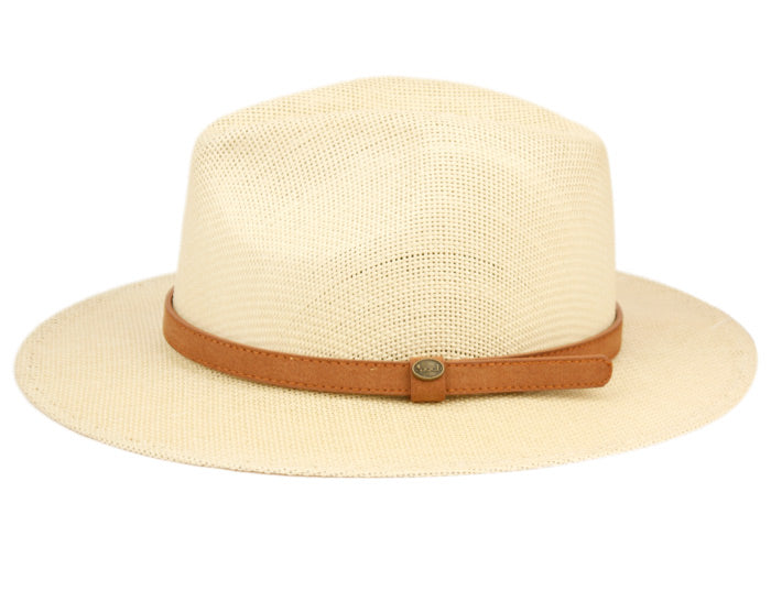 Wholesale Bulk Pack Woven Paper Straw Panama Hats With Leather Band-GDP3422
