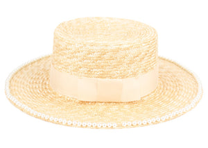 Wholesale Bulk Pack Braid Natural Straw Boater Hats W/Beaded Edge-GDP3507