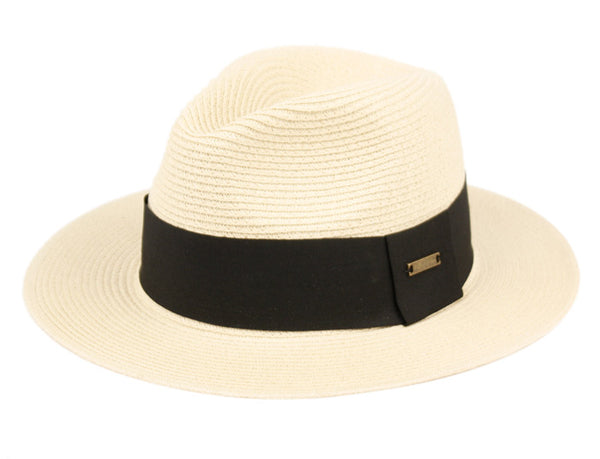 Wholesale Bulk Pack Woven Paper Straw Panama Hats With Black Band-GDP3512