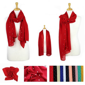 Wholesale Bulk Pack Pack-12 Fashion Pearls solid Lightweight Scarves-GDP884