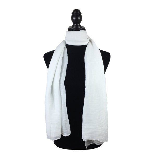Wholesale Bulk Pack Solid Color Large Size Lightweight Scarf White-GDP848
