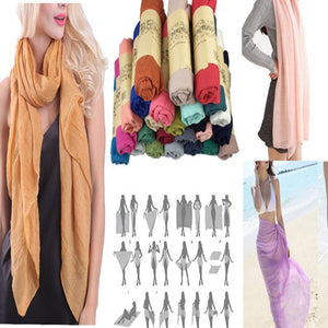 Wholesale Bulk Pack 24 Pack Large Solid Wrinkle Soft Head Scarf And Shawl-GDP880
