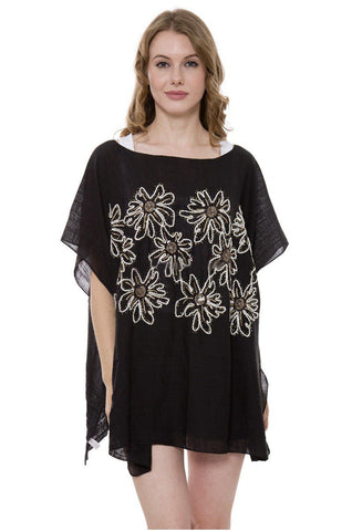 Wholesale Bulk Pack Solid Color Topper / Cover-Up / Poncho with Embroidered Sequins Floral-GDP3718