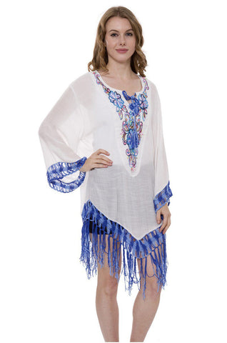 Wholesale Bulk Pack Light Solid Color Topper / Cover-Up / Poncho with Embroidered Floral & Fringess-GDP3716