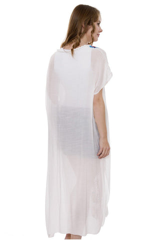 Wholesale Bulk Pack White Long Topper / Cover-Up / Poncho with Crochet Décor-GDP3713