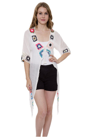 Wholesale Bulk Pack White Light Topper / Cover-Up / Poncho with Crochet Decor & Fringes-GDP3710
