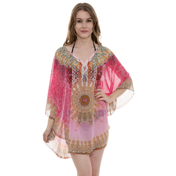 Wholesale Bulk Pack Mixed Print Topper / Cover-Up / Poncho with Rhinestone Studded-GDP3692
