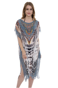 Wholesale Bulk Pack Long Mixed Print Topper / Cover-Up / Poncho with Rhinestone Studded-GDP3684