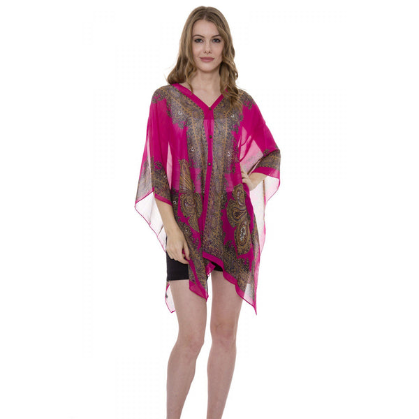 Wholesale Bulk Pack Paisley Print Chiffon Tunic / Topper / Cover-Up / Poncho-GDP3653