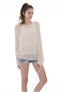 Wholesale Bulk Pack Dolman Sleeve Sweater featuring Drawstring on Sleeve-GDP3665