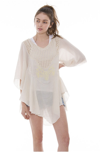 Wholesale Bulk Pack Solid Color Topper / Cover-Up / Poncho featuring Metalic Embroidered Print-GDP3649