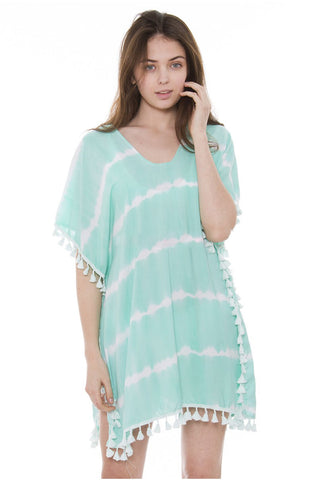 Wholesale Bulk Pack Tie-dye Topper / Cover-Up / Poncho featuring White Stripes and Tassels-GDP3677