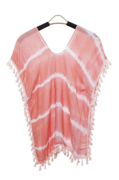 Wholesale Bulk Pack Tie-dye Topper / Cover-Up / Poncho featuring White Stripes and Tassels for Children-GDP3679