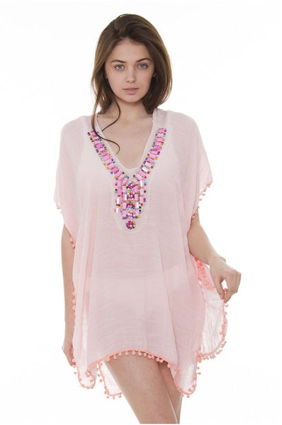 Wholesale Bulk Pack Light Plaing Color Topper / Cover-Up / Poncho featuring Beads studded on neck and small Tassels-GDP3658