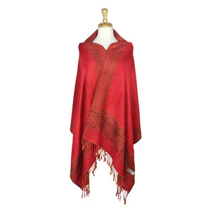 Wholesale Bulk Pack Border Pattern Pashmina Scarf-Red-GDP1737
